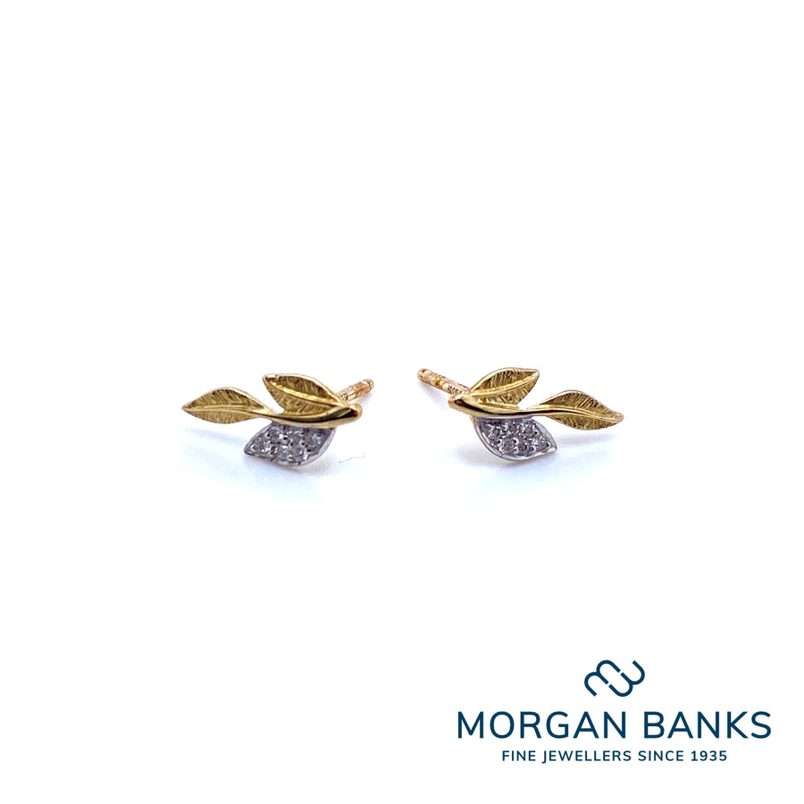 Bruno Mayer Yellow Gold Diamond Leaf Earrings 920208E/5