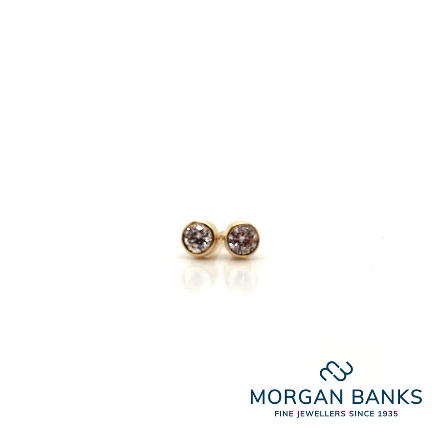 18ct Yellow Gold Diamond Earrings .12ct