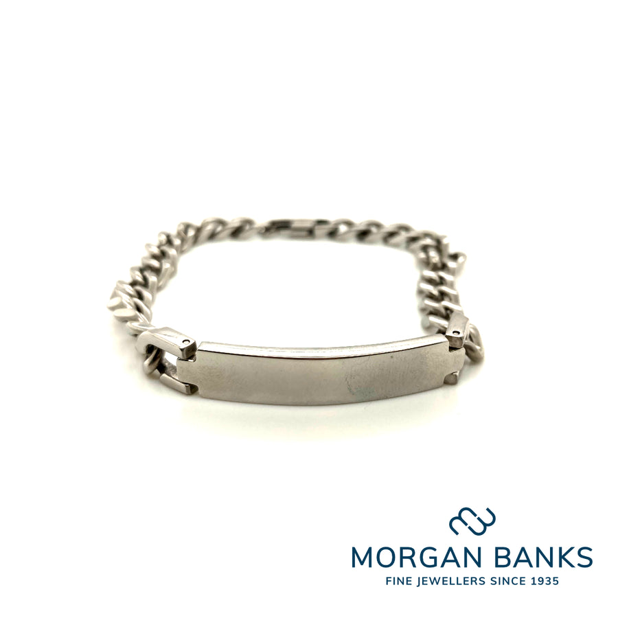Morgan Banks Steel Gents Plate Bracelet
