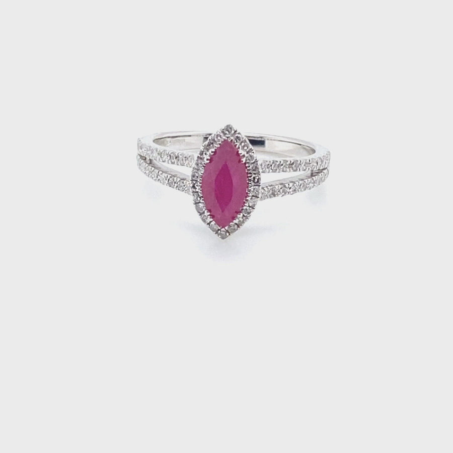18ct Ruby and Diamond  Marquise stone Ring 91346R145R-9Y