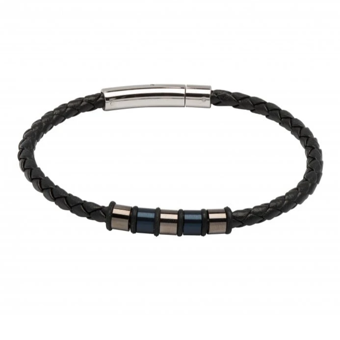 Black Leather Bracelet with Steel Elements - Gunmetal and Navy IP B405BL
