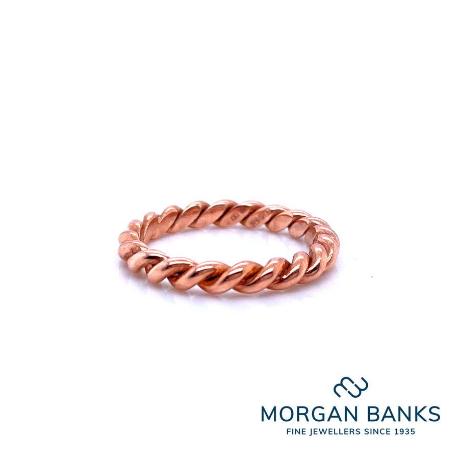 London Road 9ct Rose Gold 3mm Rope Stack Ring 70532