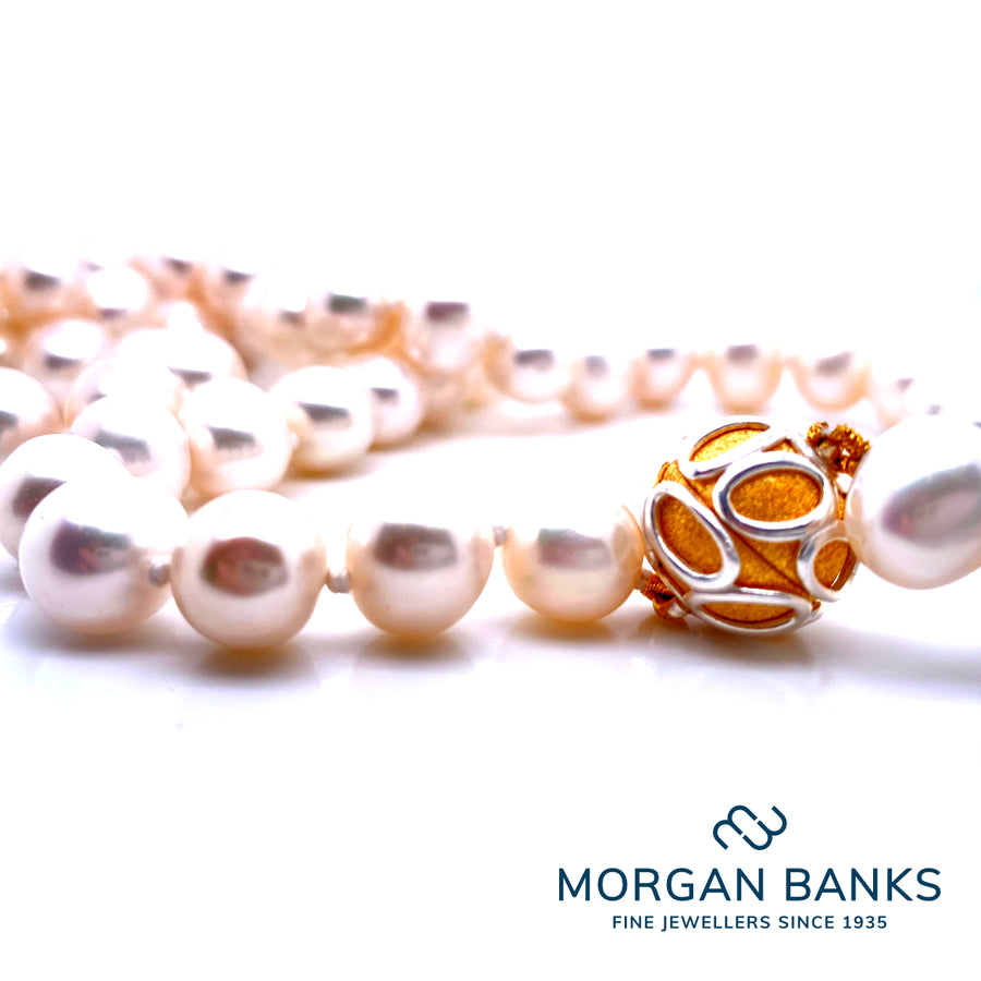 Morgan Banks Round Pearl Fresh Water Pearl Necklace