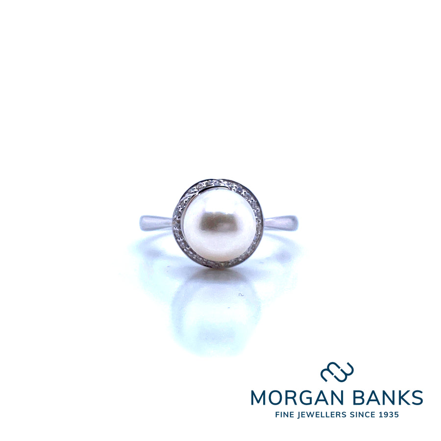 Mark Milton 9ct White Gold Diamond & Pearl Ring Size N MM1S43WDC