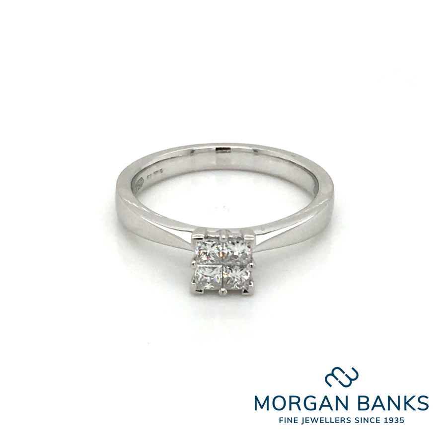 18ct White Gold Diamond ring .33ct