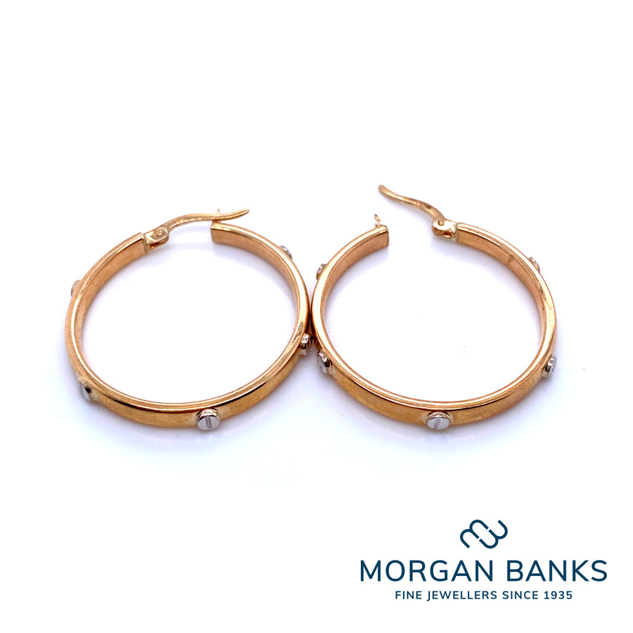 Herbert Marx Yellow Gold Two-tone Hoop Earrings 10-18-134