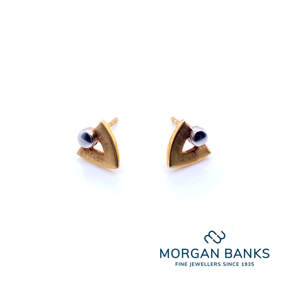 Herbert Marx Gold Two-tone Tribe Stud Earrings 10-15-025