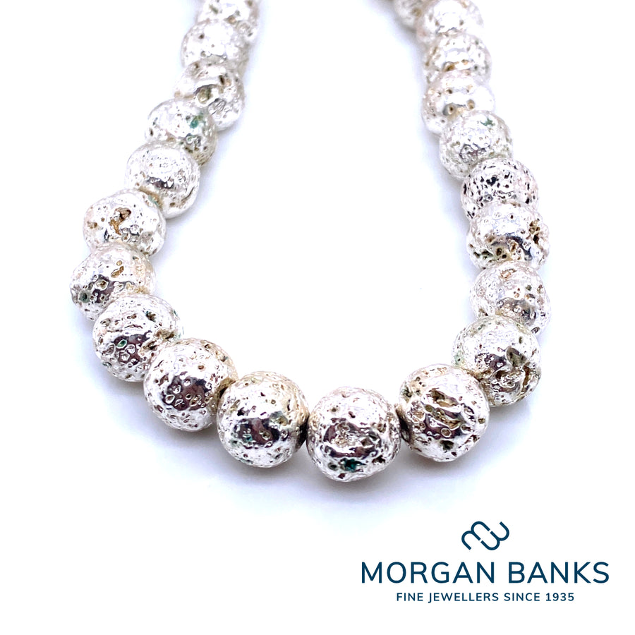 Morgan Banks 10mm Lava Silver Plated Necklace