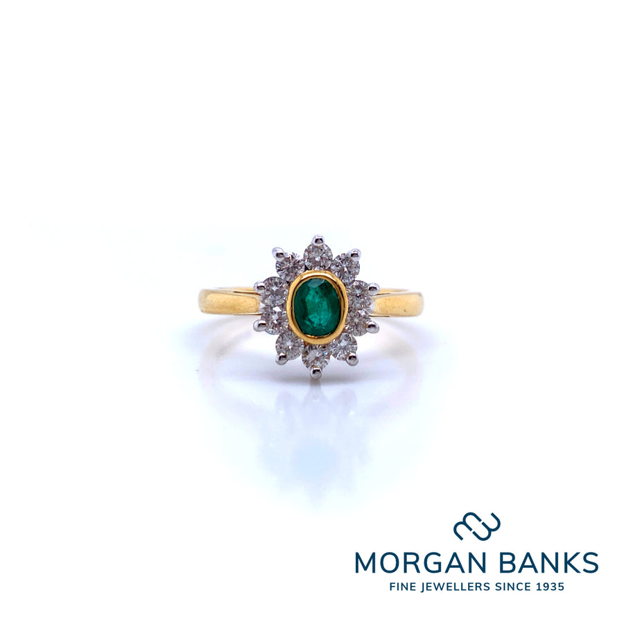 GB 18ct Emerald and Diamond Ring