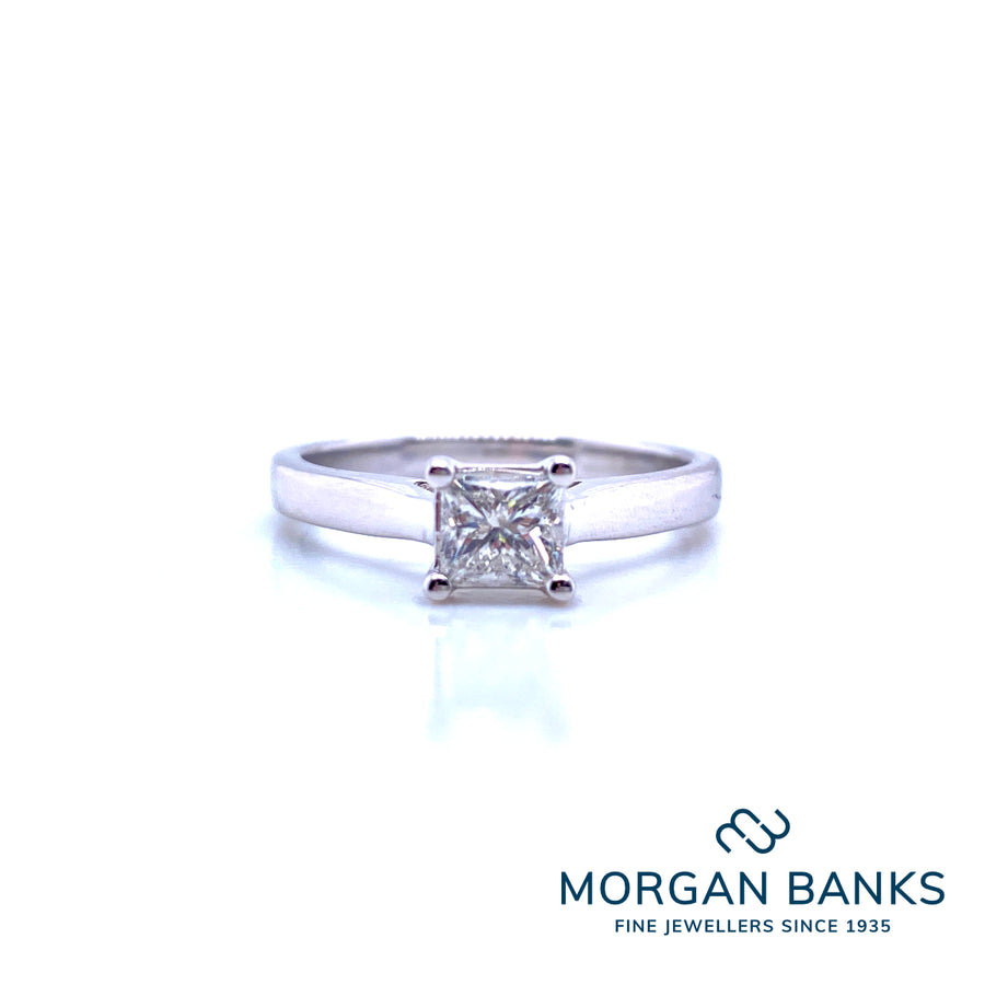 GW 9ct White Gold Princess Cut 0.50ct Solitaire Ring 9311R050