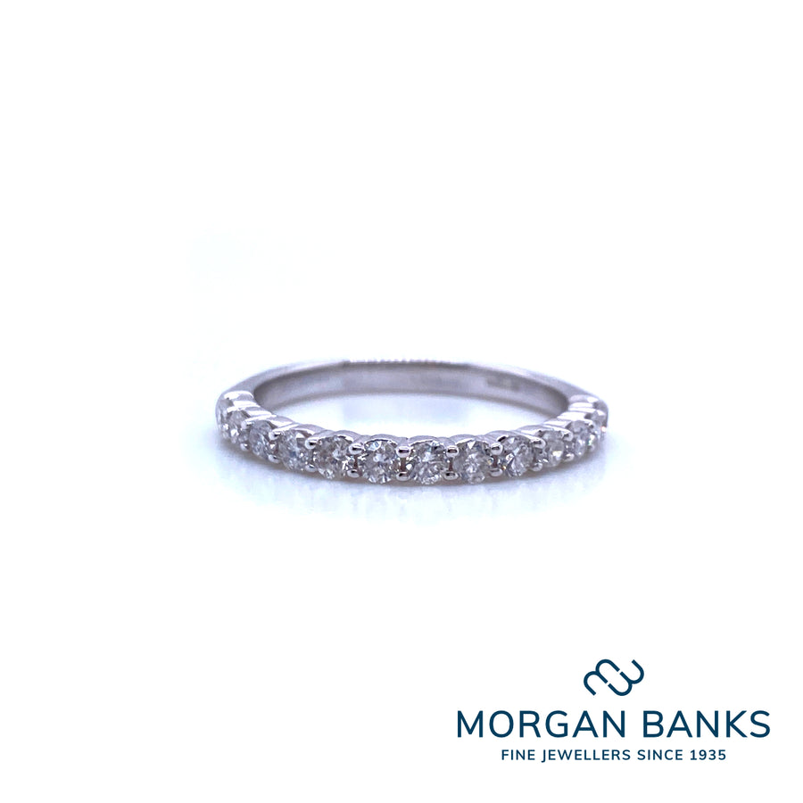 9 ct White Gold Claw Set 0.20ct 1/2 Eternity Ring R10109S20
