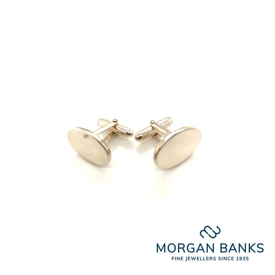 Anchor Silver Plain Oval bar Cufflinks CL507SWP