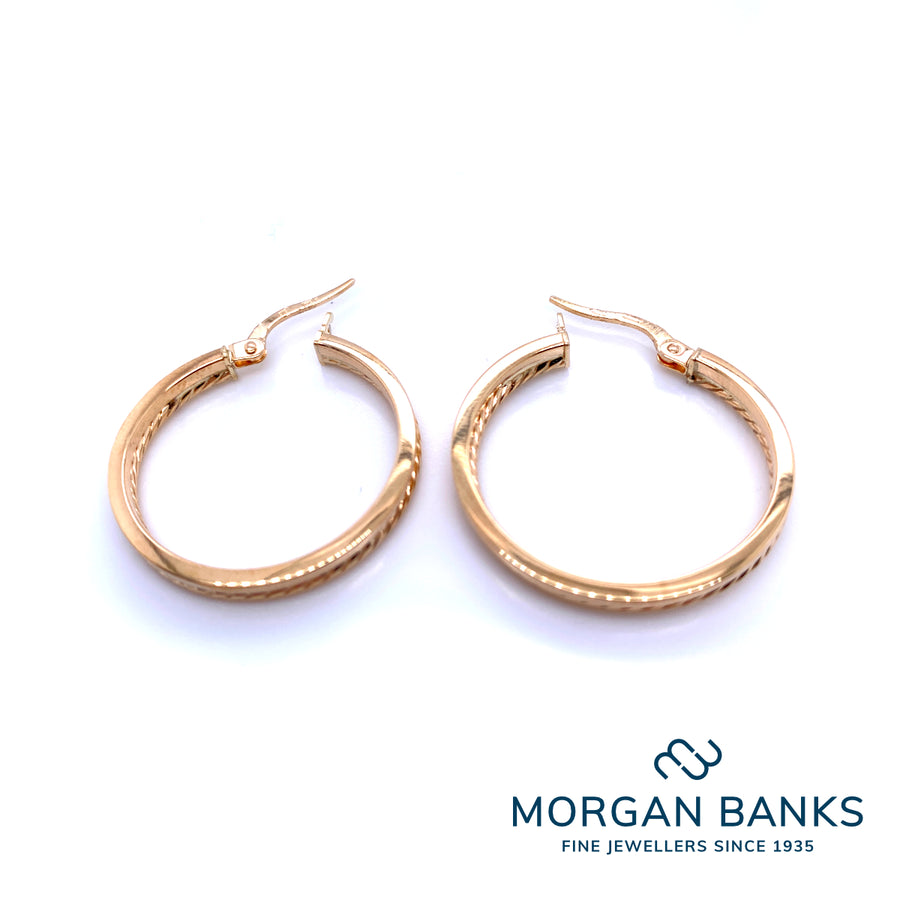 H 9ct Yellow Gold 20mm Round Hoops (double hoops with one edge) H172Y