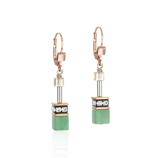 Earrings GeoCUBE® Swarovski® Crystals & Gemstones green-beige 4905200510