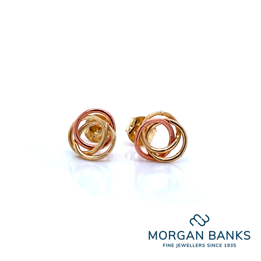 9ct Rose and Yellow Gold 3 Circle Earrings