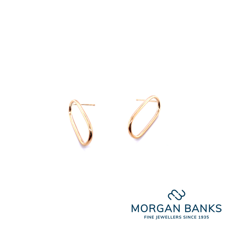 9ct Yellow Gold 22mm Open Oval Stud Earrings E618