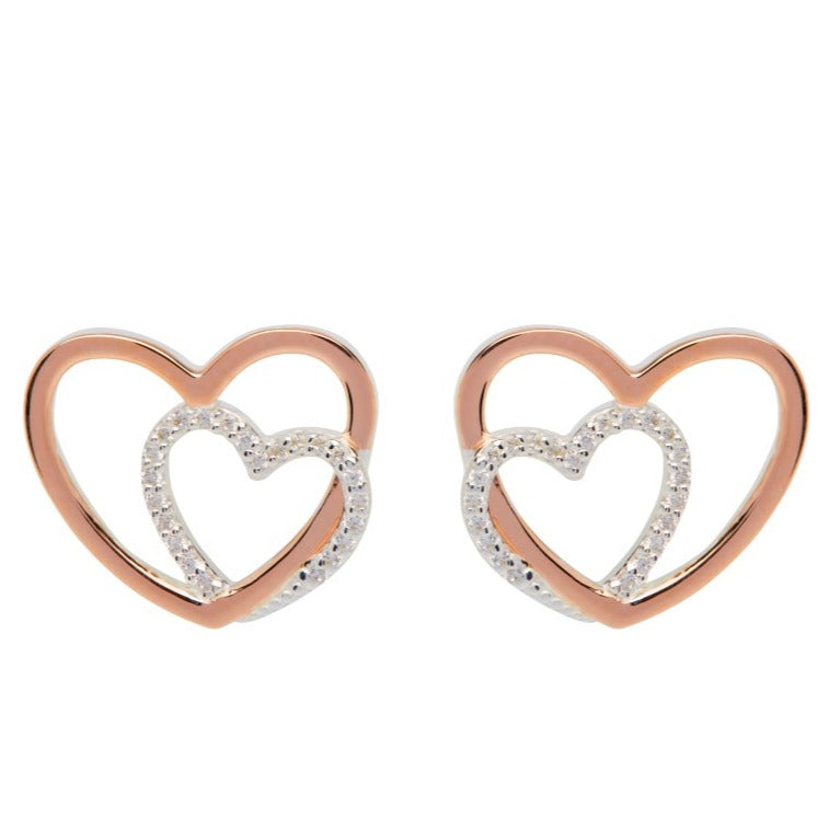 Sterluing Silver 925 Stud Earrings with Rose Gold Plating ME-660