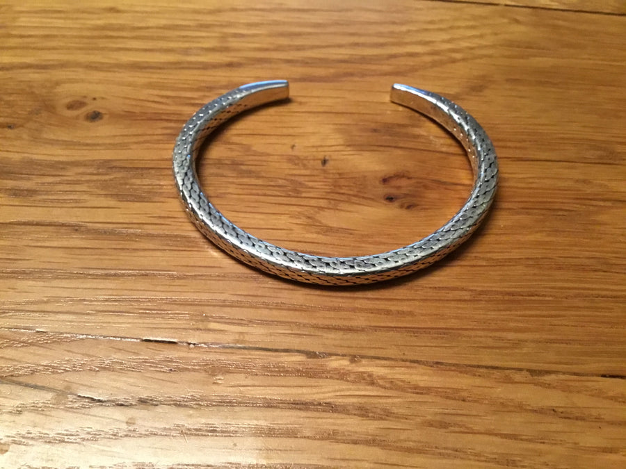 Heavy Fancy Silver Torque Bangle