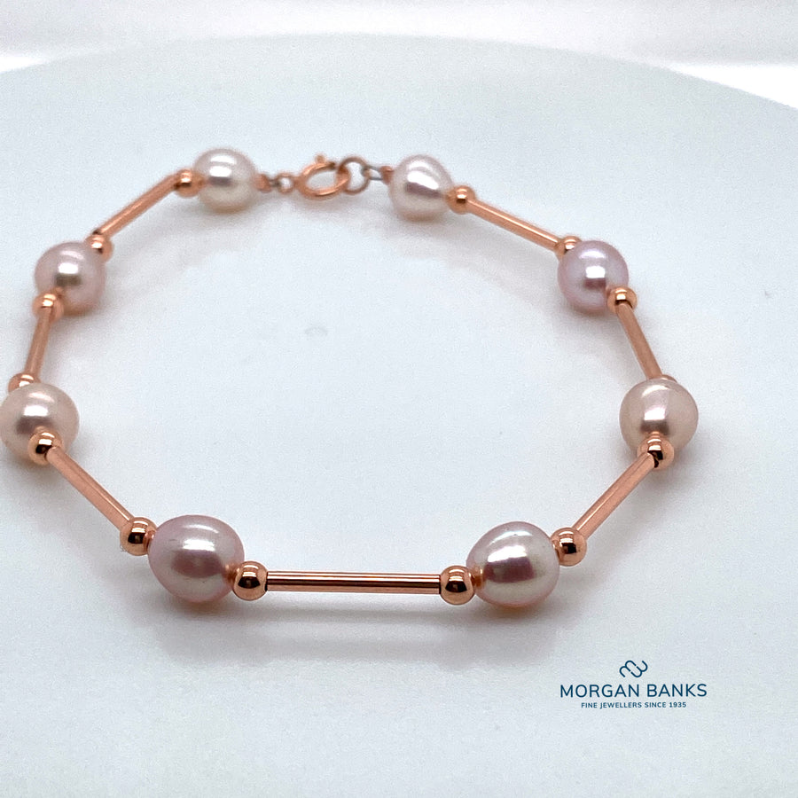 9ct Rose  Gold & Pearl Bracelet B319R