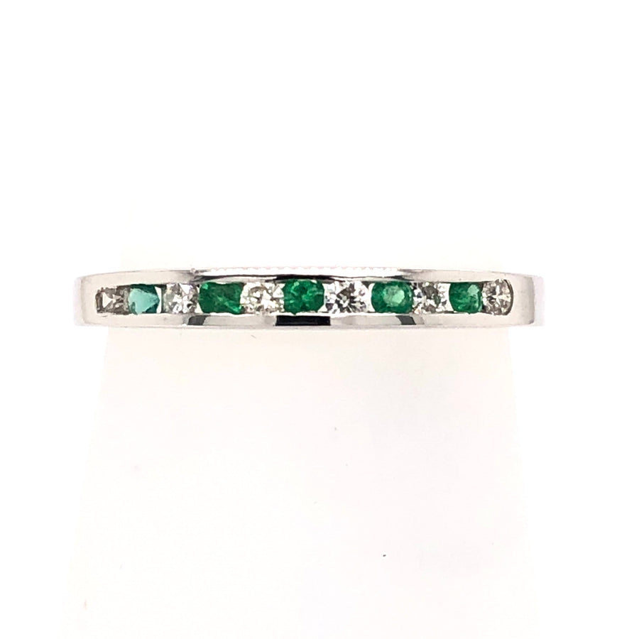 Morgan Banks 9ct White Gold Diamond And Emerald Channel Set 0.25ct 1/2 ET Ring 9074NR025E