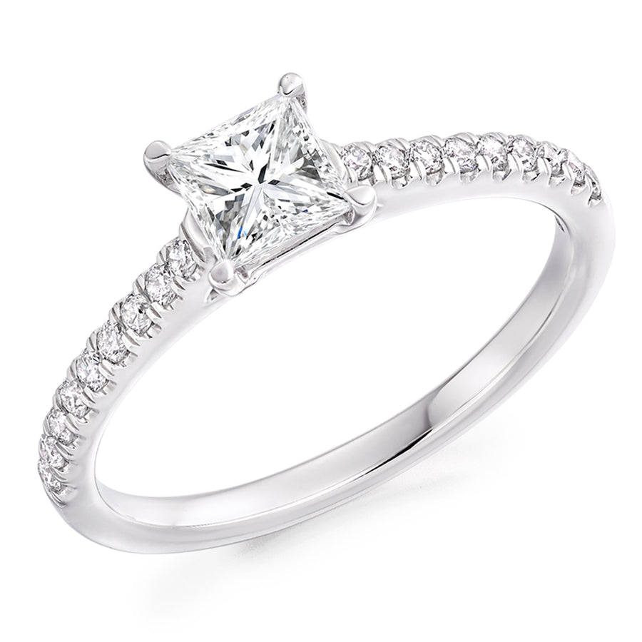 C The Raphael Collection Platinum Princess shaped Diamond Engagement Ring ENG6952 SMT