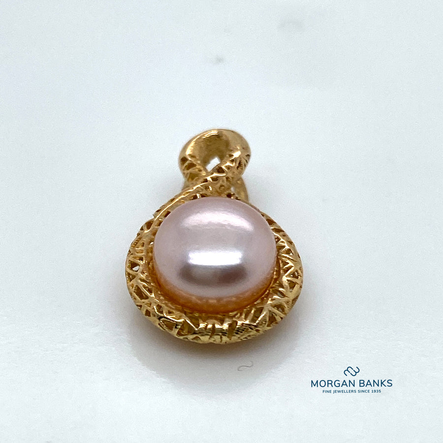 9ct Gold Pearl and Diamond Pendant PP1400