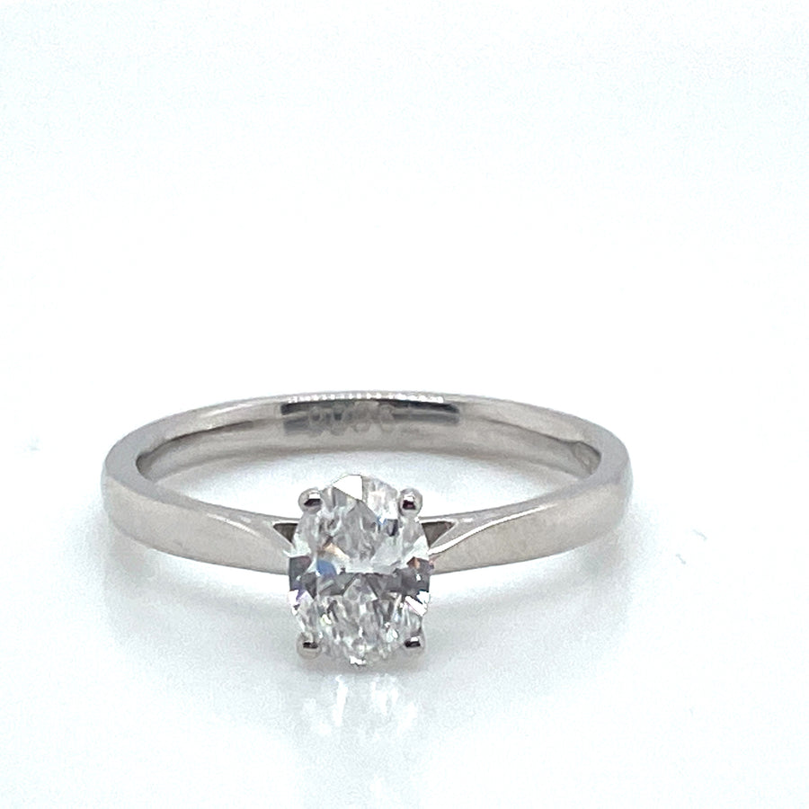Platinum Oval Diamond Ring 1.01ct F SI1