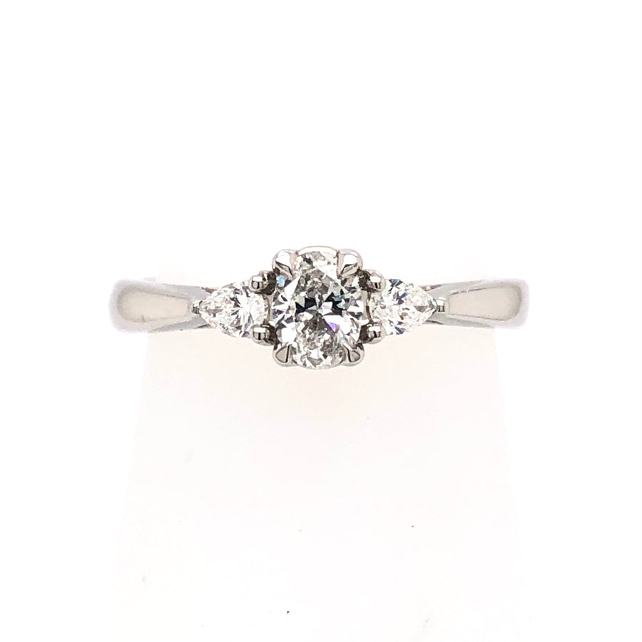 The Raphael Collection Platinum Oval 3 stone Diamond Engagement Ring TRL24458