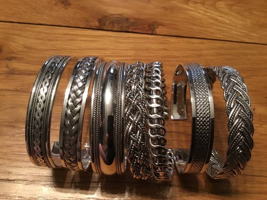 Fancy Silver Torque Bangle