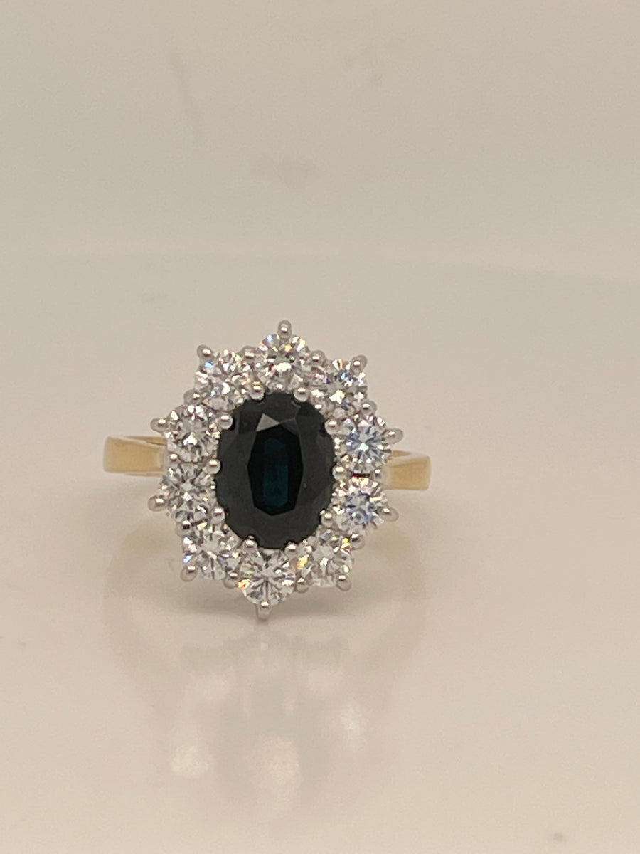 18ct Yellow Gold Sapphire and Diamond  Cluster Ring 2.32Ct 1.43ct SV4850