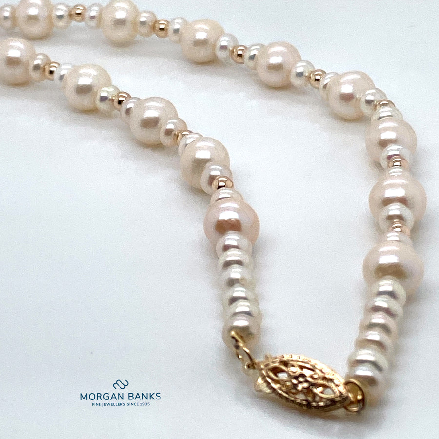 9ct  Gold & Pearl Necklace N320