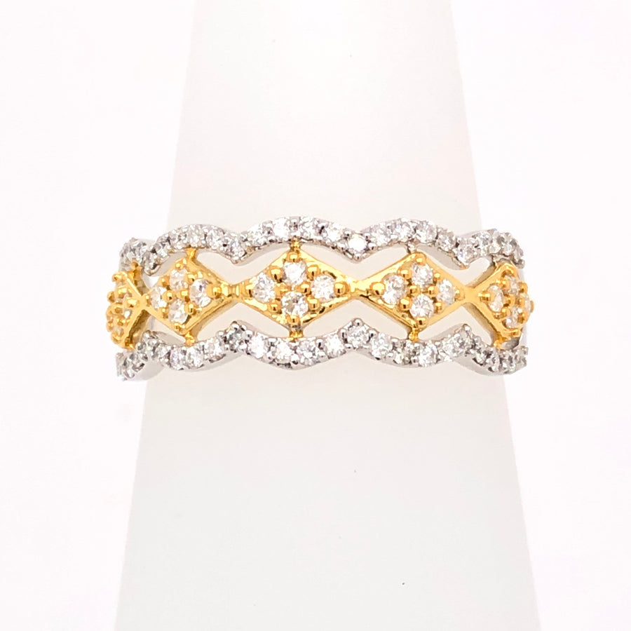 9ct 0.40ct Diamond and Gold three row Band Ring 91382R040-9Y
