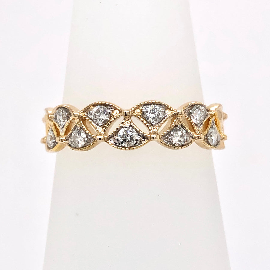9ct  0.25ct Diamond and Gold Multi Cluster Band Ring 91384R025-9Y