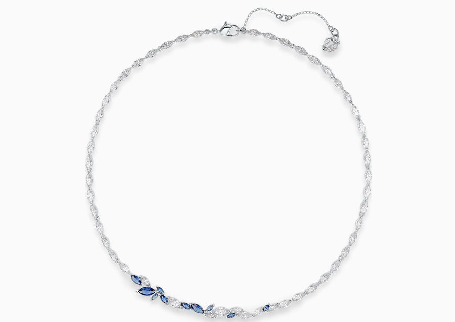 Swarovski Louison Necklace, Blue, Rhodium plated, 5536547