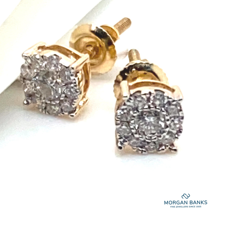 9ct Yellow Gold 0.25ct Diamond Starburst Cluster Stud Earrings 9031E025