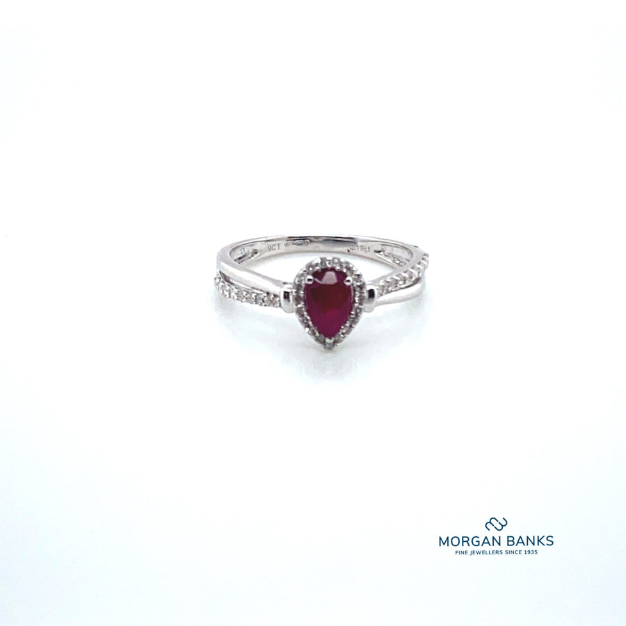 9ct Ruby and Diamond  Pear shaped halo stone Ring 91399R070-9Y