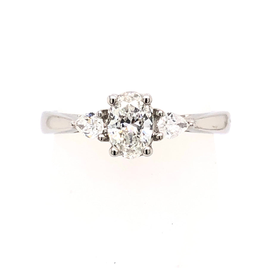 The Raphael Collection Platinum Oval 3 stone Diamond Engagement Ring TRL23667