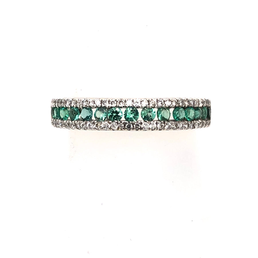 Morgan Banks 9ct White Gold Diamond And Emerald Channel Set 0.65ct 1/2 ET Ring 9166r065ER025E