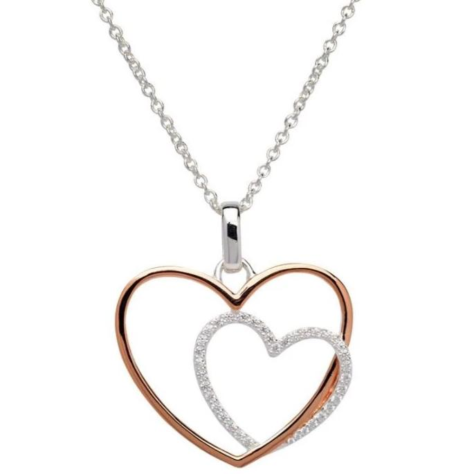 Silver 925 Heart Pendant with Rose Gold Plating and CZ MK-660