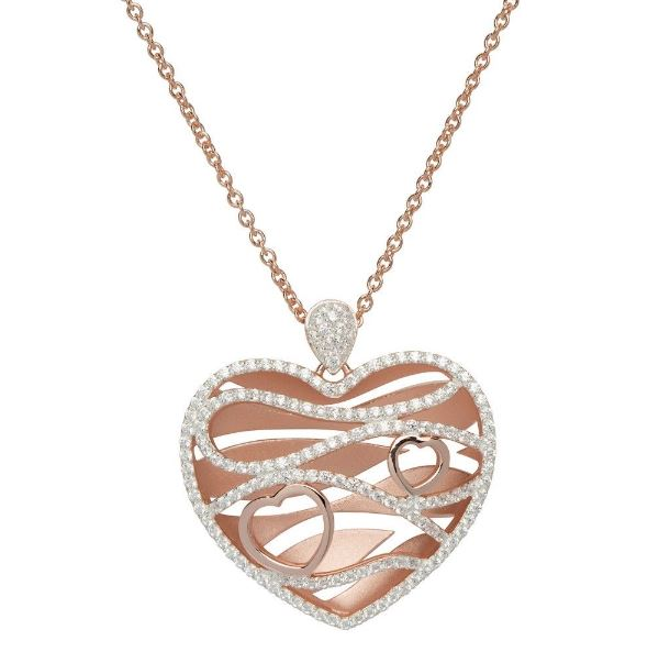 Silver 925 Heart Pendant with Rose Gold Plating and CZ incl. Chain MK-644