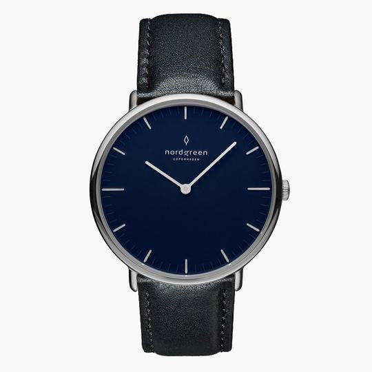 Nordgreen Silver Case Native Watch: Navy Dial and Black Leather Strap NR40SILEBLNA