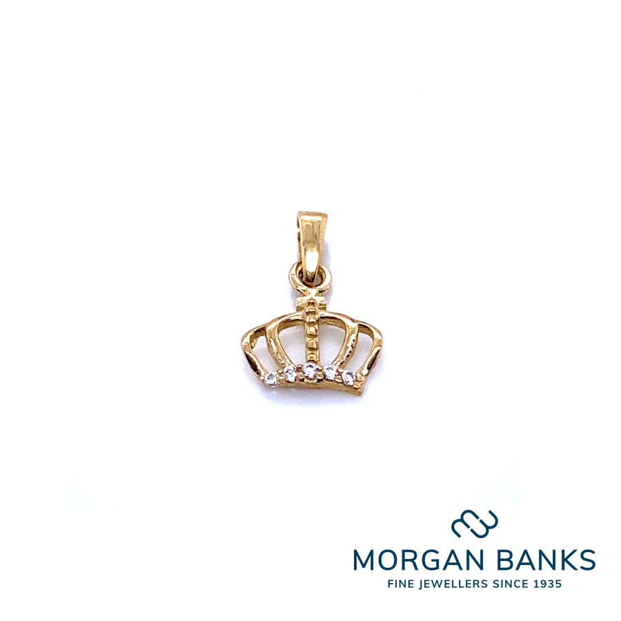 9ct Yellow Gold Crown with CZ Pendant PD611