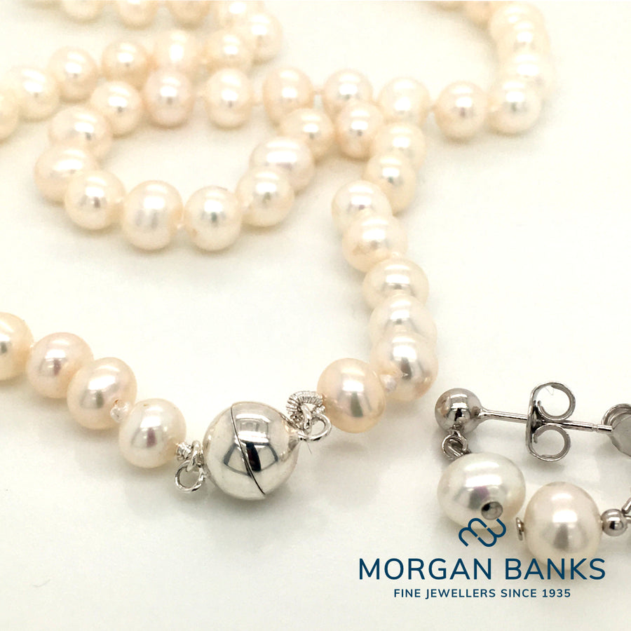 7mm White Pearl Necklace and Earring Set PEANE2