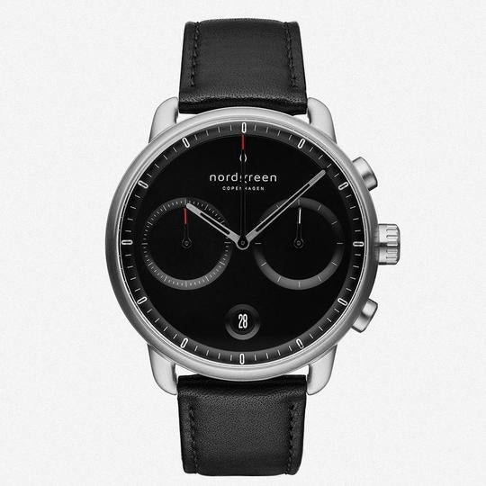 Nordgreen Silver Case Pioneer Watch: Black Dial and Black Leather Strap PI42SILEBLBL