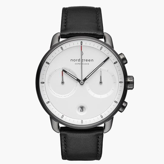 Nordgreen Gun Metal Case Pioneer Watch: White Dial and Black Leather Strap PI42GMLEBLXX