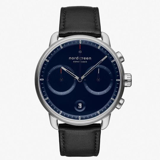 Nordgreen Silver Case Pioneer Watch: Navy Dial and Black Leather Strap PI42SILEBLNA