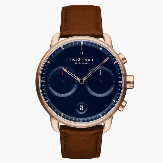 Nordgreen Rose Gold Case Pioneer Watch: Navy Dial and Brown Leather Strap PI42RGLEBRNA