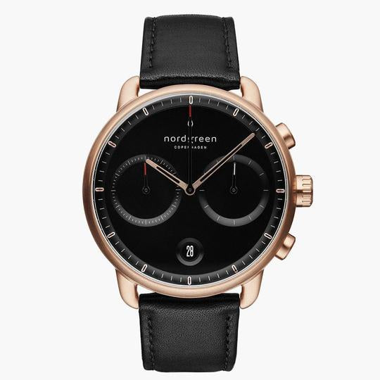 Nordgreen Rose Gold Case Pioneer Watch: Black Dial and Black Leather Strap PI42RGLEBLBL