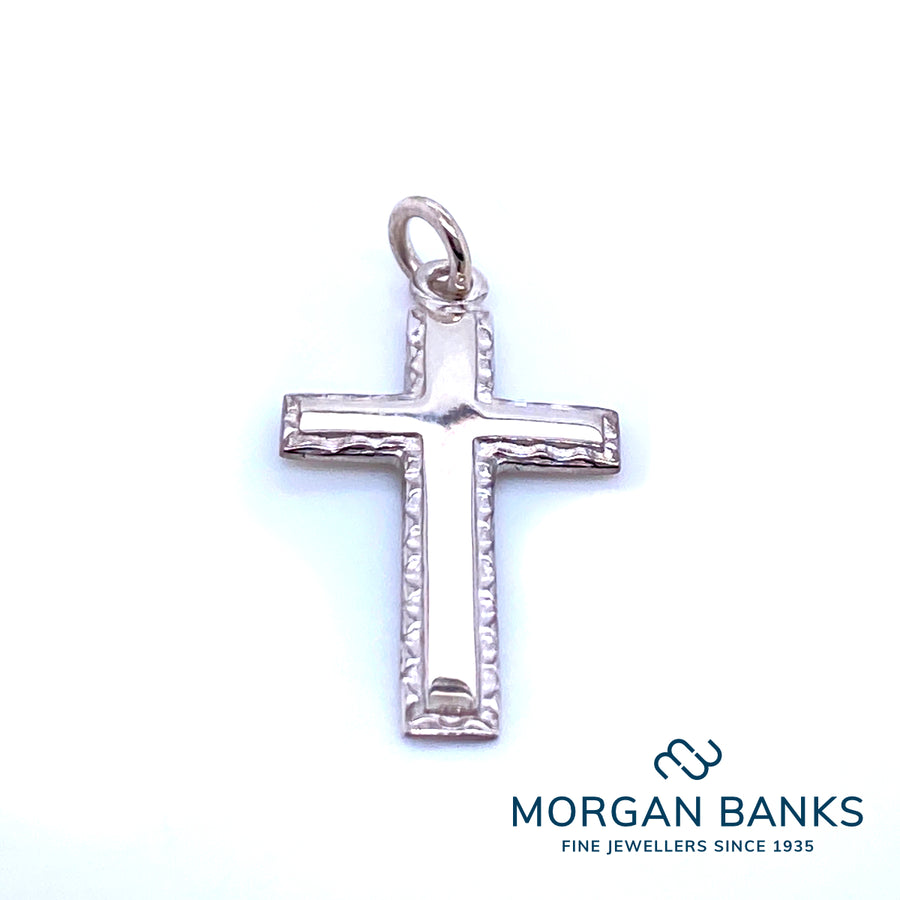 Silver Cross Pendant with Beaded Edge