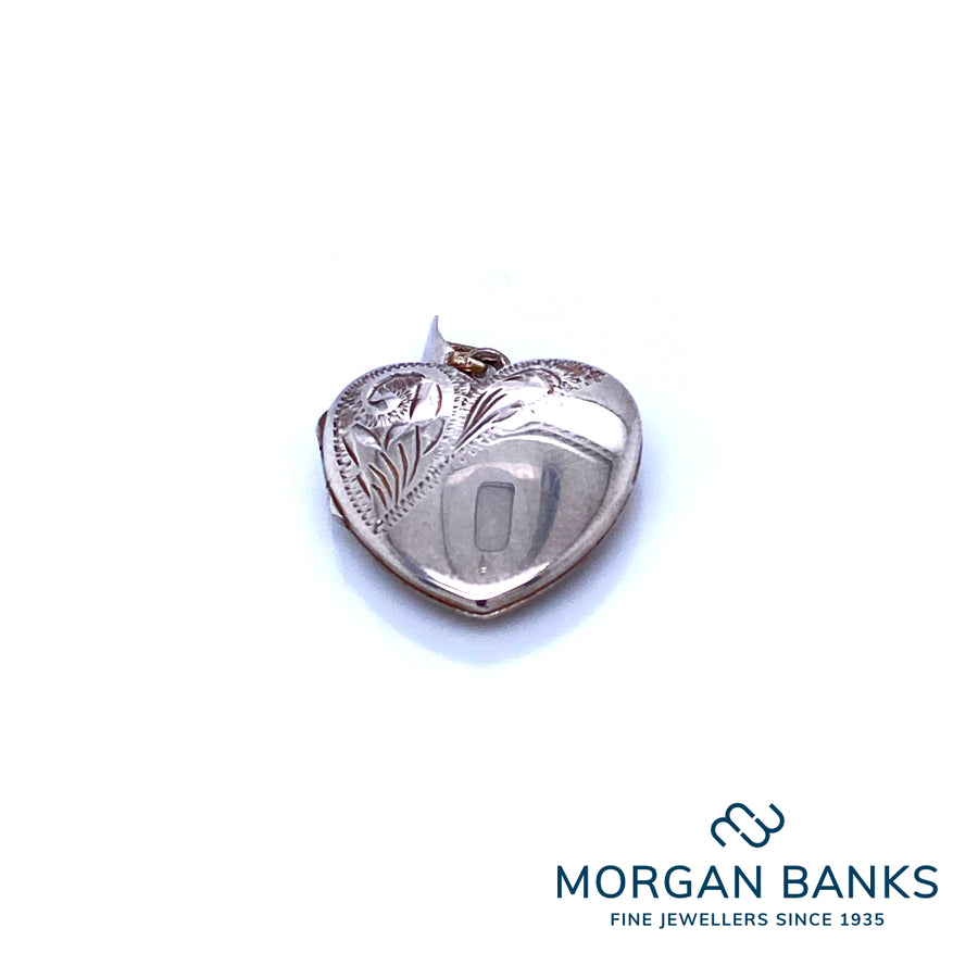 Silver Heart Locket 1/2 Engraved Pendant